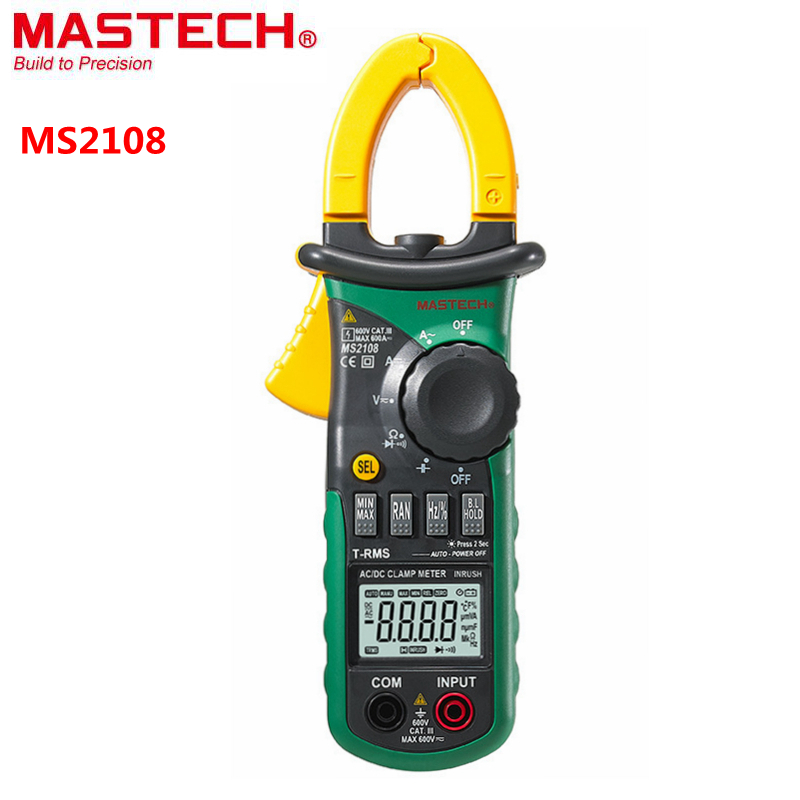 Mastech MS2108 Digital Multimeter True RMS AC/DC 600A/600V Volt Amp Ohm Herz.  Inrush Current Multi Tester with LCD Backlight mastech ms2108 t rms ac dc auto rg clamp meter tester max hold backlight inrush vs free shipping