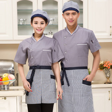 The New high quality Summer Short-sleeved Chef service Hotel working wear Restaurant work clothes Tooling uniform cook Tops