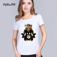 PyHenPH New Women's T-shirt Cool Fox Biker Print T Shirt Women High Quality Short Sleeve White Tops Woman/Girl Clothing