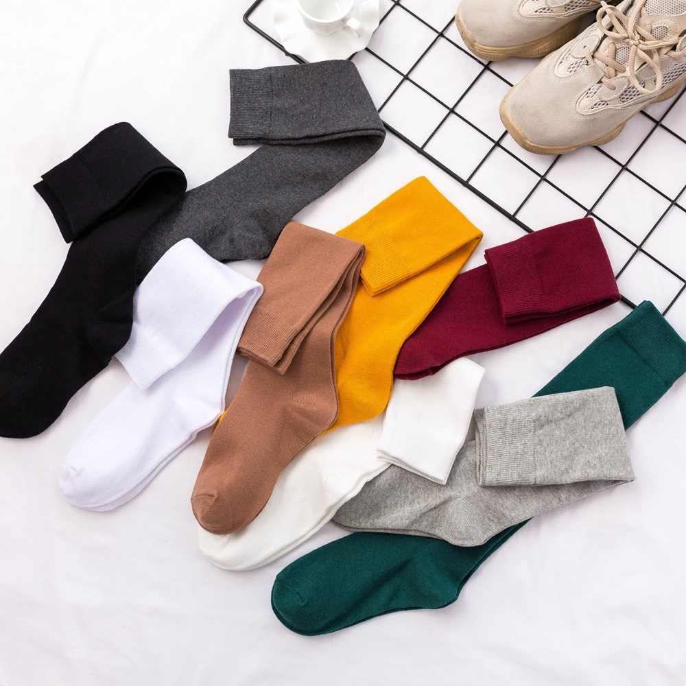 8 colores calcetines para mujer algodón Otoño Invierno calcetines largos Harajuku femenino Casual Trick calcetín abrigado damas Color sólido Sox 2019