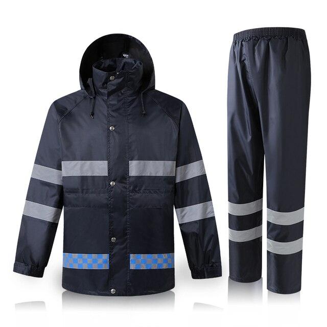 Hi Vis Jacket Navy Blue Safety Jacket Workwear Men Waterproof Rainwear Rain  suit Rain coat 29361b352