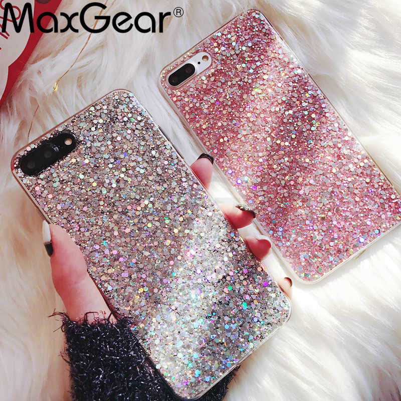 MaxGear Case voor iPhone 6 6S Case Silicon Bling Glitter Crystal Pailletten Soft Cover Fundas voor iPhone 5SE 5S 7 8 Plus X XR XS Max