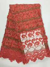 Latest African Laces Fabrics Embroidered African Guipure French Lace Fabric With  for wedding dress YD08