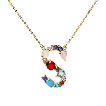 Colorful Rainbow Crystal Zicronia Alphabet Letter Pendant Necklace For Women, CZ Micro Pave Big Alphabet Pendant Necklace Gift