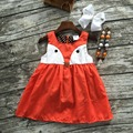 2016 girls clothes baby kids summer sleeveless brown orange happy fox animal dress boutique  with matching necklace and bow set