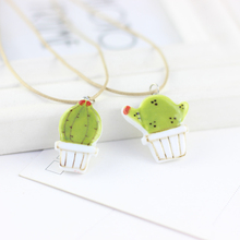 Summer Style 100% Hand-painted Ceramic Chain Necklace & Pendants for Women Girl Clavicle Lovely Cactus Pattern Jewelry