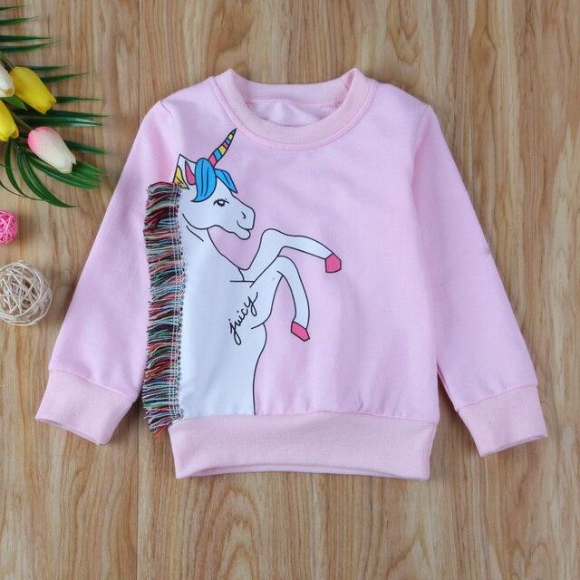 Unicorn ילדים תינוק בנות Jumper סווטשירט בסוודרים פעוט חולצה ארוך שרוול כותנה חולצות בגדים