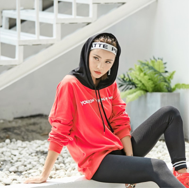 2019 New Winter Women Hoodies Sweatshirts Casual Hooded Patchwork Letter Pullovers Tops Red Black