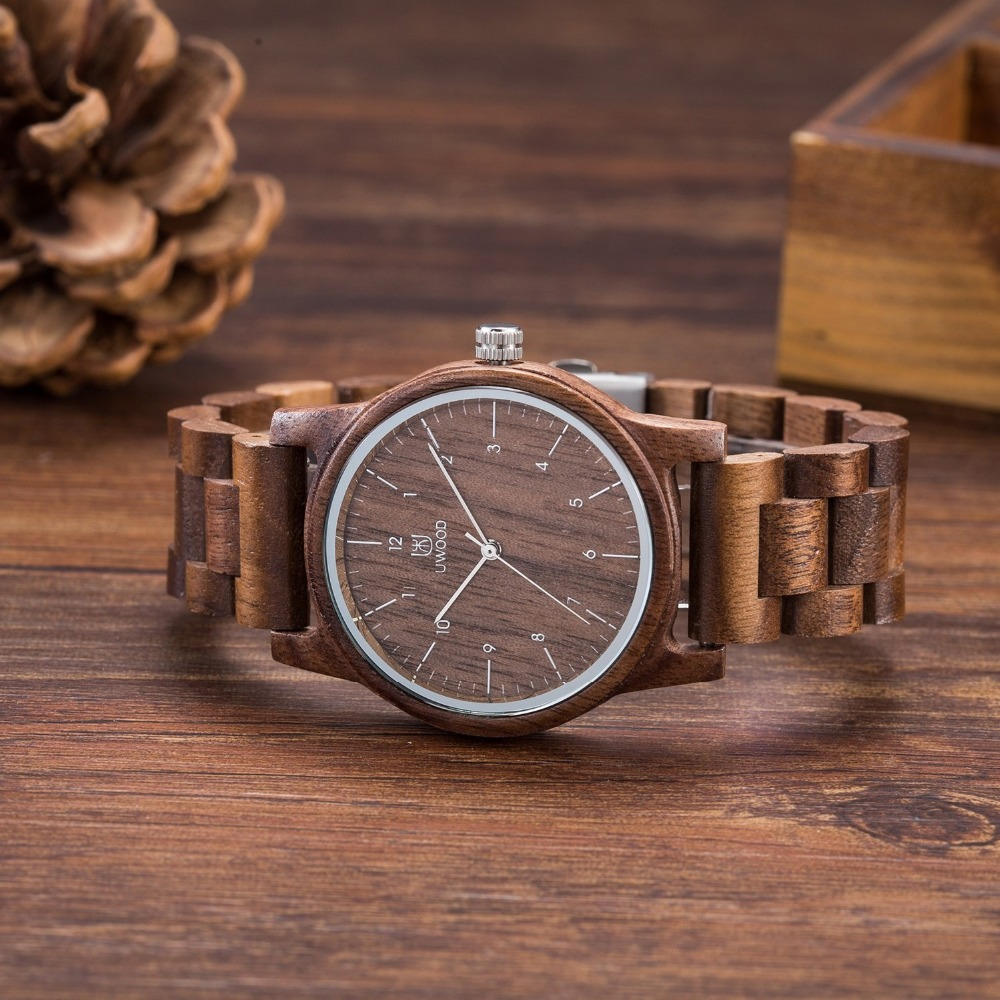 2019 New Fashion Watches Men Wood Watch Super Light Slim UWOOD Wood Wristwatch Limited Natural Wooden Watch Japanese Movements