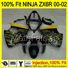 8Gifts Injection mold Body For KAWASAKI NINJA ZX-6R 00-02 1HM22 ZX 6R ZX6R 00 01 02 ZX636  2000 2001 2002 Fairing yellow black