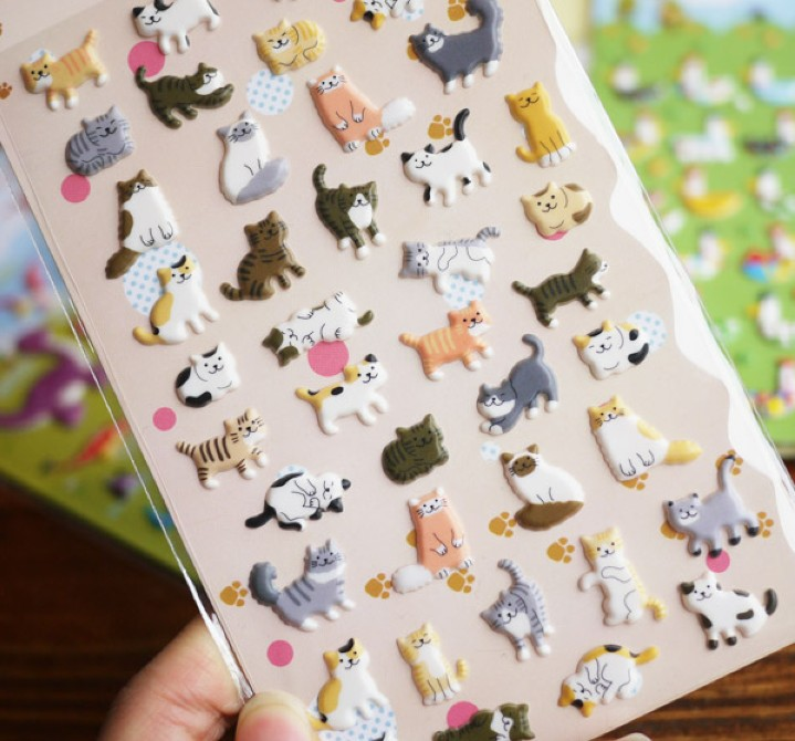 1pack/lot New 1 Sheets Set Cute 3D Happy Cat Pvc Sticker   DIY Quality Sticker  Retail