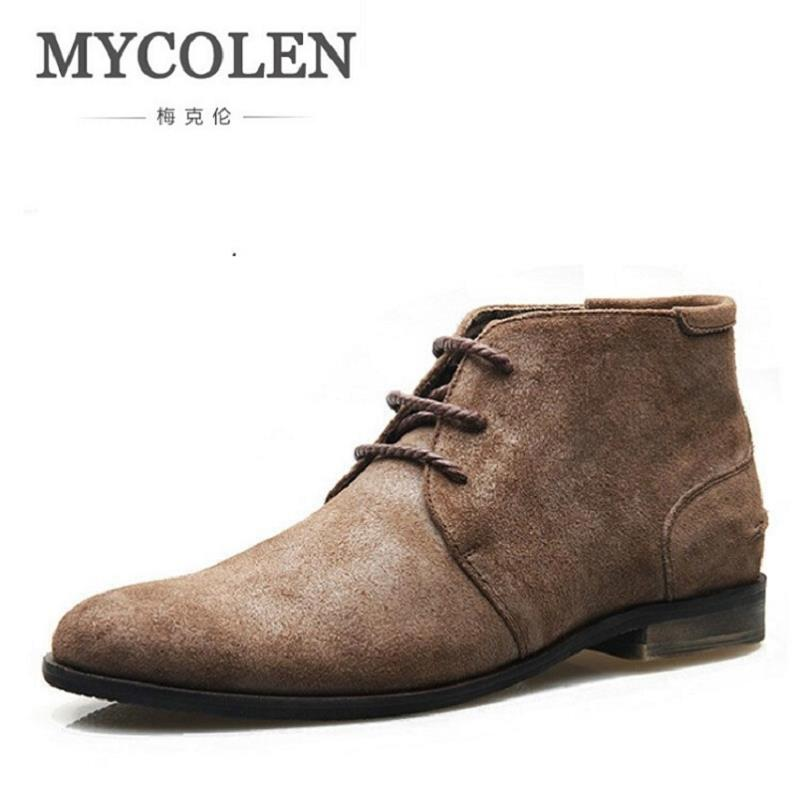 MYCOLEN New Retro Black Men's Dress Boots Faux Suede Business Formal Men Boots Winter Lace-Up Mens Shoes Erkek Bot Ayakkabi 1200 150mm 24w led panel light smd2835 school hospital super market workshop office home hotel meeting room lighting white