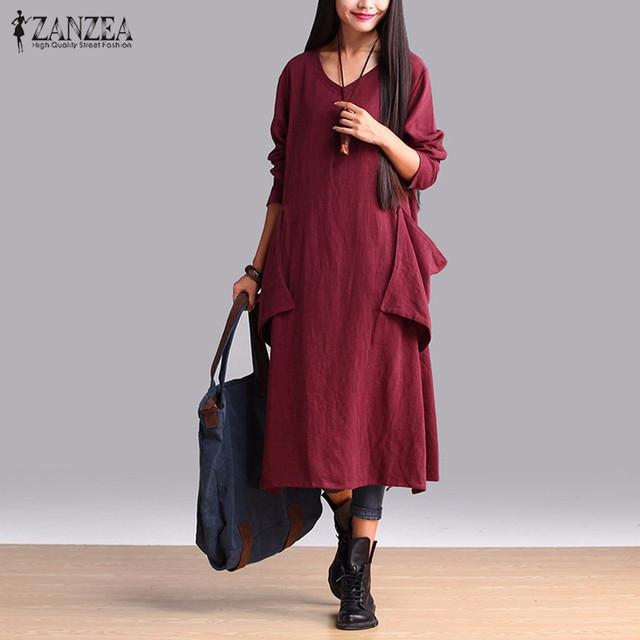 ZANZEA Mujeres 2016 Verano Otoño Retro Dama Vestido de Algodón Flojos Ocasionales sólido de La Manga Completa Con Cuello En V Solid Largo Vestido Vestidos Tallas grandes