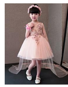 Image 2 - Flower Girl Dresses Glizt Pink Lace Appliques Girls Wedding Gown Trailing Princess Dresses Kids Costume Children Summer Clothes
