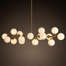 Post-modern Milk White Glass Ball Gold Iron Long Pendant Light for Dining Room Bar Foyer Modern Suspension 1832
