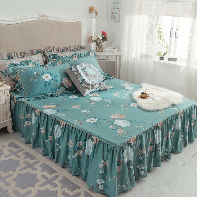 Permalink to Bed Skirt 3Pcs luxury Lace Bedding Set Bedspread Bed Linen Pillowcases green flowers bed skirt sets cotton fashion Home textile