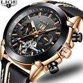 LIGE для мужчин s автоматические механические часы Топ Элитный бренд кожа Tourbillon повседневное Спорт водонепроницаемые часы для мужчин Meski Zegarek