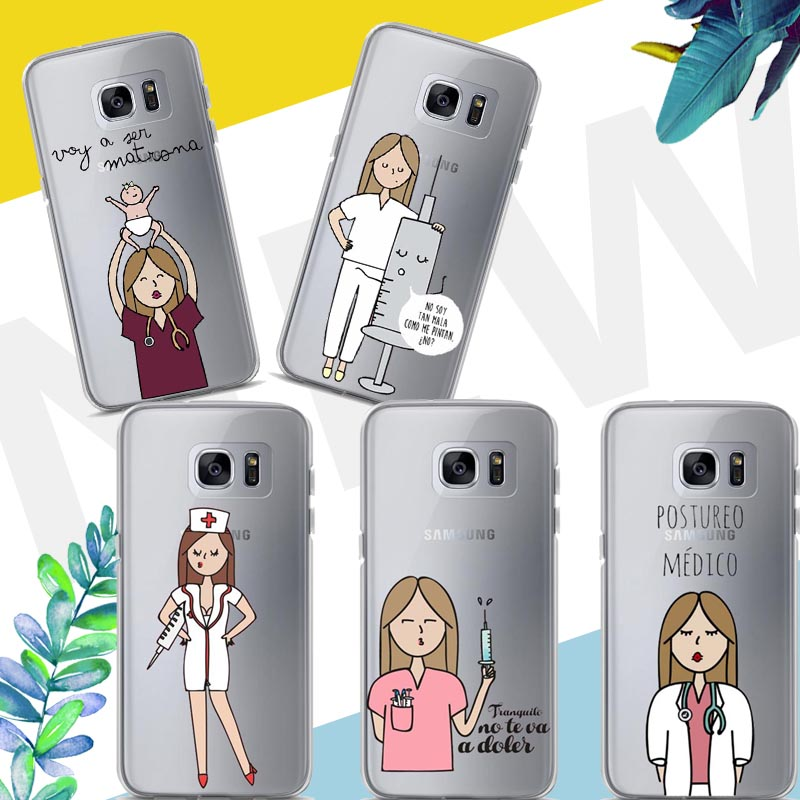 Spain Cute Cartoon Medicine Nurse Doctor Dentist Soft Tpu Phone Case For Samsung Galaxy A3 A5 A7 J3 J5 J7 2015/2016/2017 Cellphones & Telecommunications Phone Bags & Cases