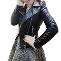 Nueva Tachonado de Hombro Pad Fajas Cremallera Bolsillo de la Chaqueta de La Motocicleta de Las Mujeres prendas de Vestir Exteriores Abrigo S-XL del tamaño Extra Grande