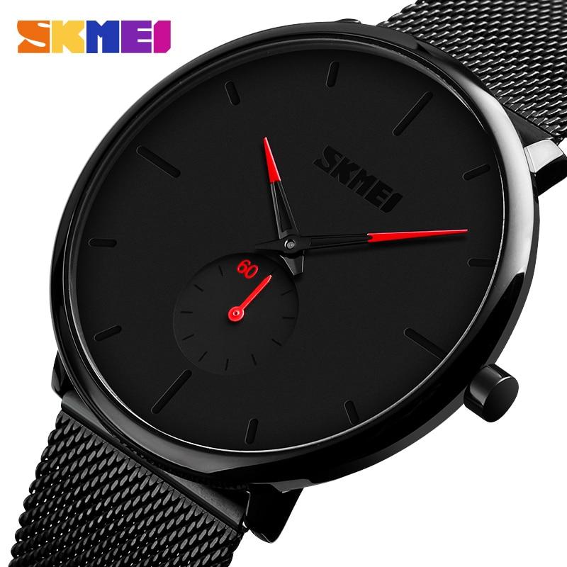 SKMEI Top marque montre à Quartz décontracté montres à Quartz hommes en acier inoxydable étanche relogio masculino 9185