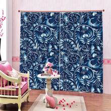 blue flower Curtain office Bedroom 3D Window Curtain Luxury living room decorate Cortina Blackout curtain(China)