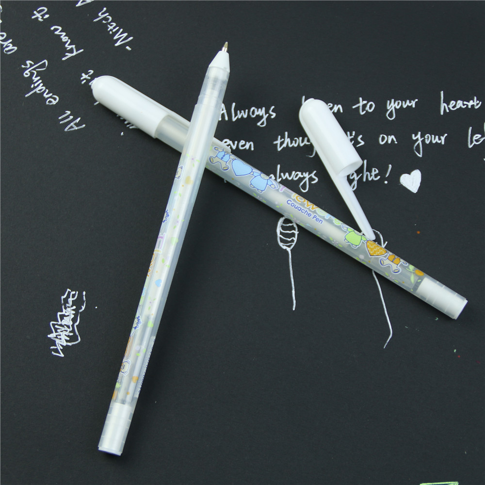 0.8mm Beautiful Cute Pen Unisex Pen Gift For Kids White Ink Color Photo Album Gel Pen Stationery Office Learning