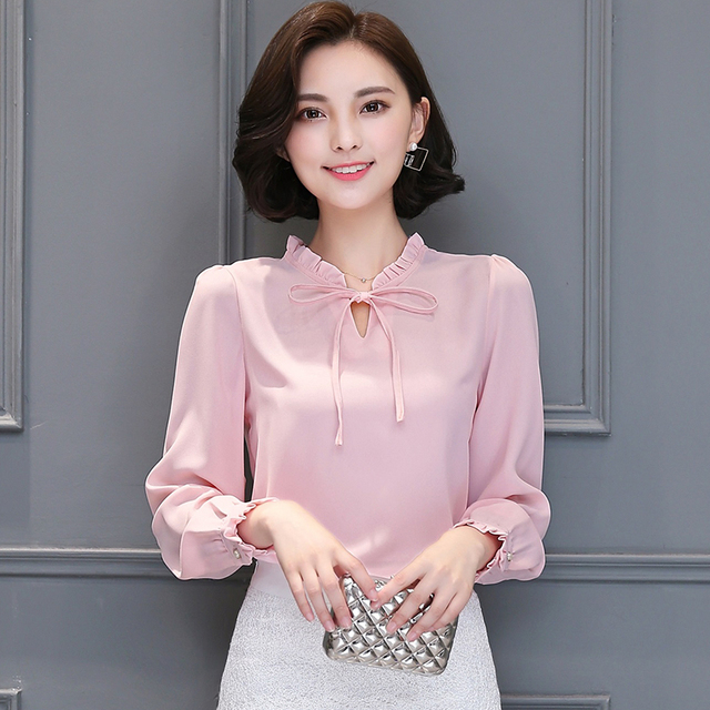 afa8fe28e44a9 2018 New Spring Autumn Shirts Women Blusa Chiffon Blouse Long Sleeve Ruffle  Collar Fashion Tops Women s