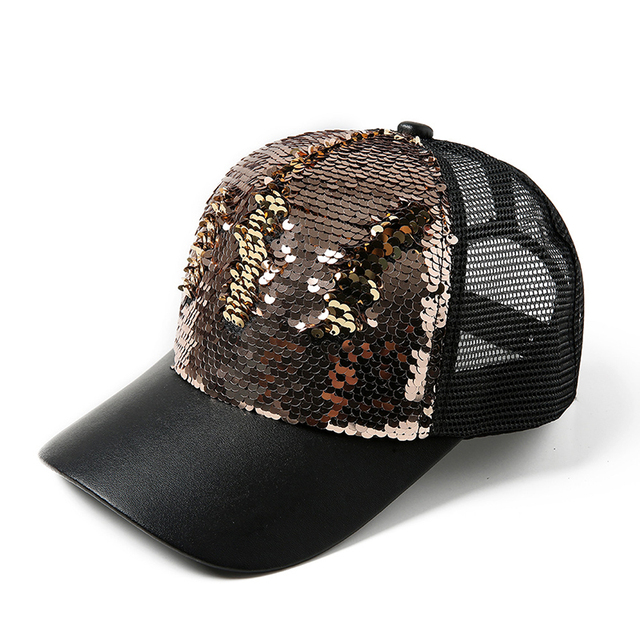 690e4b773885d Glitter Ponytail Baseball Cap Women Snapback Hip Hop Caps Female Sequins  Shine Rapper Summer Hats Mesh Outdoor Hat Bone