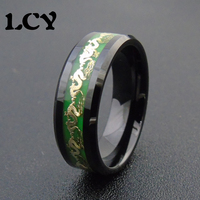 Green Luminous Ring Men Jewelry Golden Dragon Rings Vintage Glow In The Dark Ring Stainless Steel