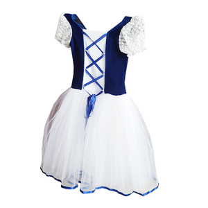 Image 3 - New Romantic Tutu Giselle Ballet Costumes Girls Child Velet Long Tulle Dress Skate Ballerina Dress Short Sleeve Lace Dress
