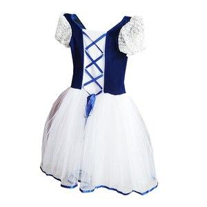 Image 3 - Nowe romantyczne Tutu Giselle balet kostiumy dziewczyny dziecko Velet długi tiul sukienka Skate baleriny sukienka z krótkim rękawem koronki sukienka