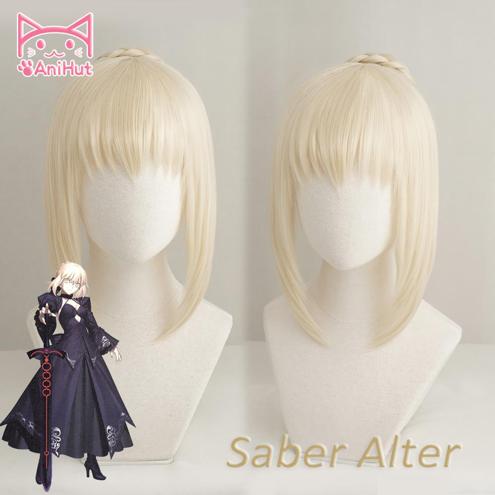 AniHut Alter Saber Wig Fate Grand Order Cosplay Wig Anime Fate Stay Night Cosplay Hair Synthetic Heat Resistant Women Hair Fate