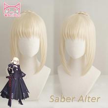 【AniHut】Alter Saber peruk kader büyük sipariş Cosplay peruk sentetik isıya dayanıklı saç Saber