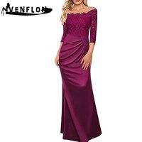 VENFLON Spring Summer Dress Women 2019 Casual Long Black Lace Mermaid Dress Female Eelgant Sexy Off Shoulder Maxi Party Dresses