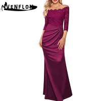 VENFLON Spring Summer Dress Women 2019 Casual Long Black Lace Mermaid Dress Female Eelgant Sexy Off Shoulder Maxi Party Dresses