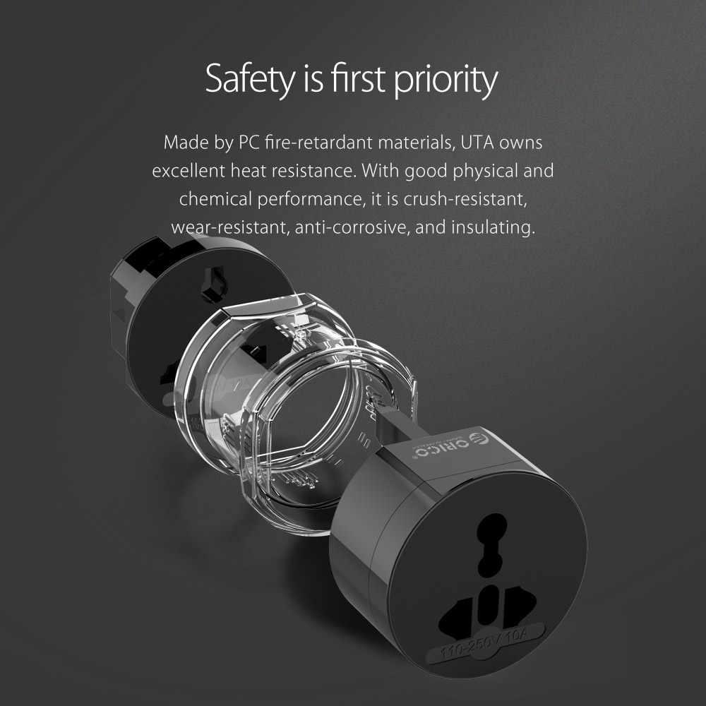 ORICO UTA adapter podróżny elektryczna uniwersalna wtyczka z adapterem Travel Power przejściówka do gniazda gniazdka wtyczka US/UK/EU/AU do inteligentnego życia