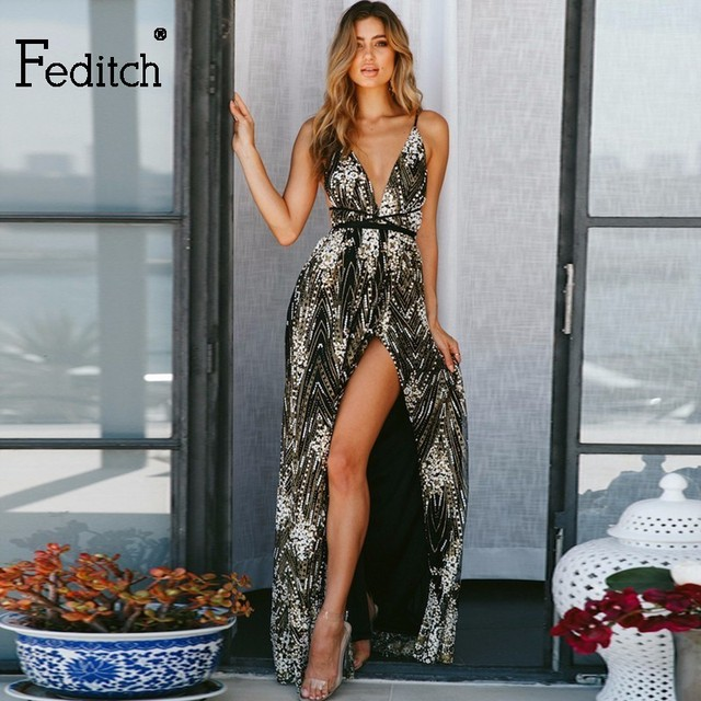 Feditch Sexy Sequins Long Dress Women Backless V-neck Embroidery Women  Party Dresses Maxi Side Split Elegent Lady Vestidos cc628d4f2e65