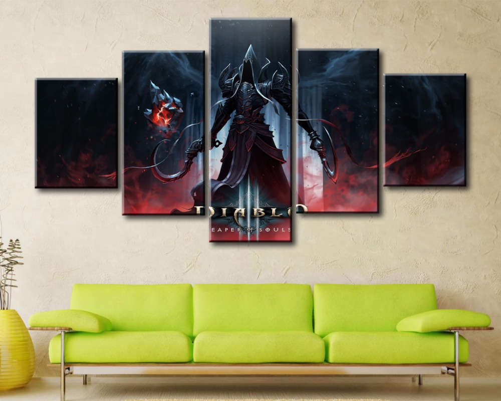 5 Panel Canvas Printed Game Poster Diablo 3 Reaper of Souls Home Decor For Living Room Wall Art Canvas Painting Pictures Artwork