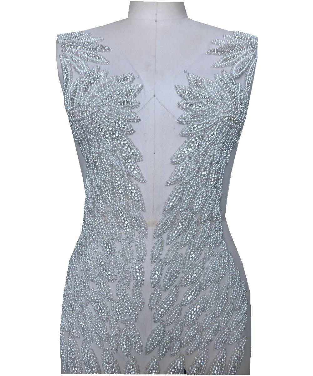 Perline fatti a mano di strass perla assetto patch sew on applique 55*31 centimetri per il vestito anteriore e posteriore-in Toppe da Casa e giardino su  Gruppo 3