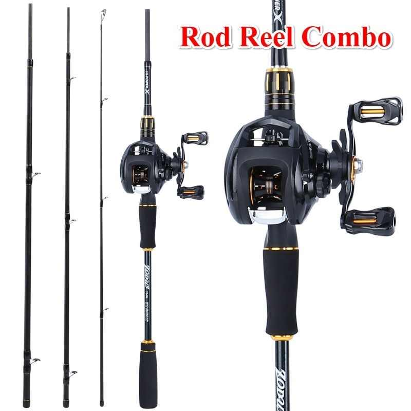 Sougayilang 2.1M Fishing Rod and Reel Combos - Carbon Fiber Portable Casting Rod with Baitcasting Reel Kit Fishing Rod Set