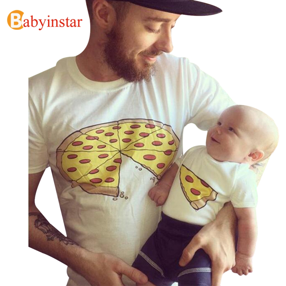 Babyinstar Father Son Matching Clothes Daddly And Me Summer T-shirt Short Sleeve Pizza Pattern 2017 New Family Matching Outfits