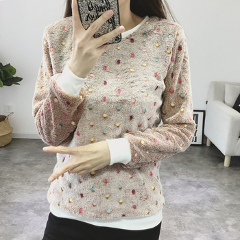 2018 Women O Neck Fleece Sweater colorful Dots Print Pullover Loose Casual Long Sleeve Jumper Top Sweater Mujer S-XXL