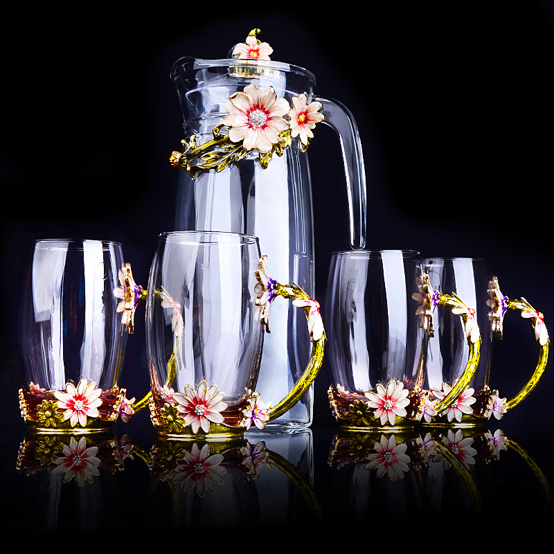 Europeo di colore dello smalto bollitore di vetro tazze di caffè set resistente al calore di tè di vetro di latte fiore tazza teiera amico regali-in Set accessori da caffè da Casa e giardino su  Gruppo 3