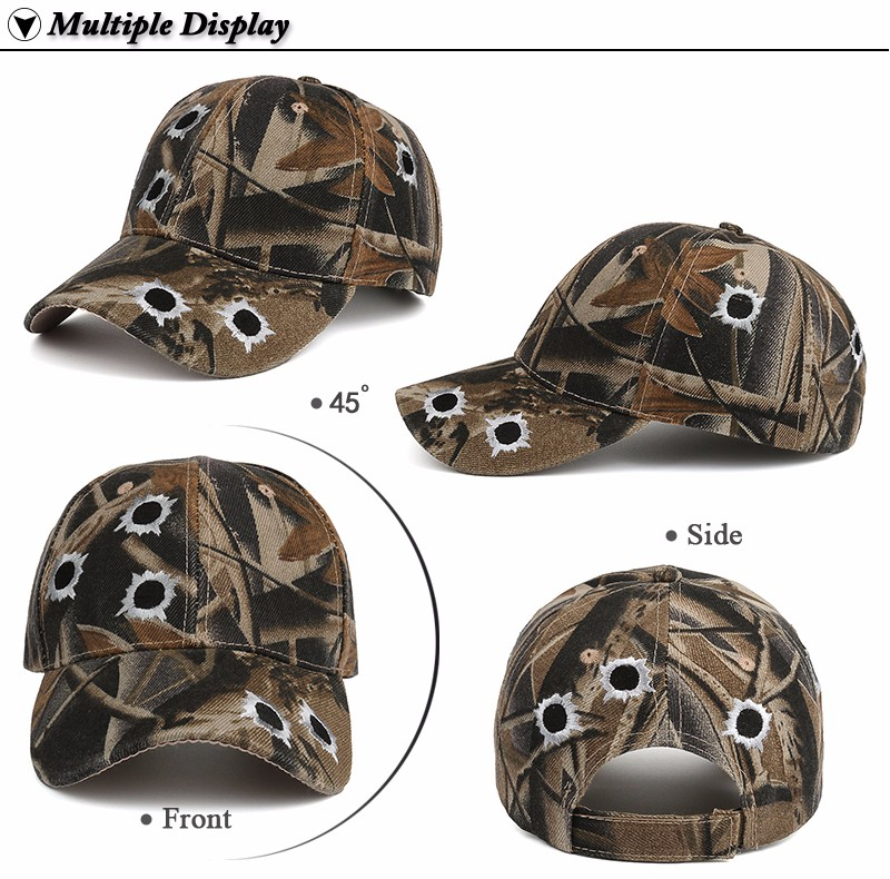 Camouflage Hunting Baseball Cap - Front Angle, Side, Front and Rear Views