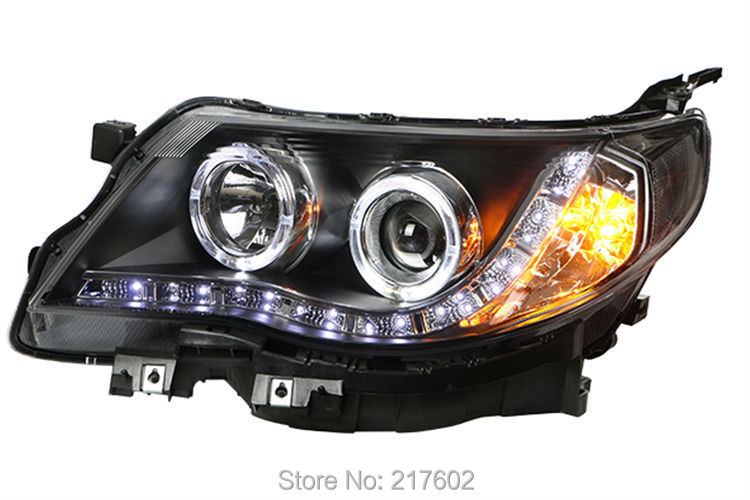 for Subaru Forester Head lights with angel eyes 2011-2013 year LF right hand drive chrome housing led head lights with porjector lens for subaru forester pw