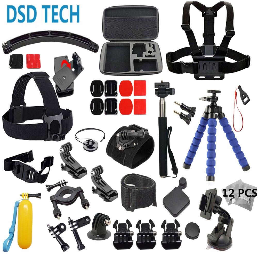 DSD TECH Head Strap Waterproof Gopro accessories Set go pro tripod bike mount helmet arm for Gopro hero4 3 SJCAM SJ4000 EKEN 20A