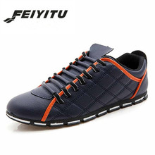 feiyitu  Man flat Shoes New Brand 2018 Mens Casual Shoe Pu Leather Lace-up Low Top Moccasins