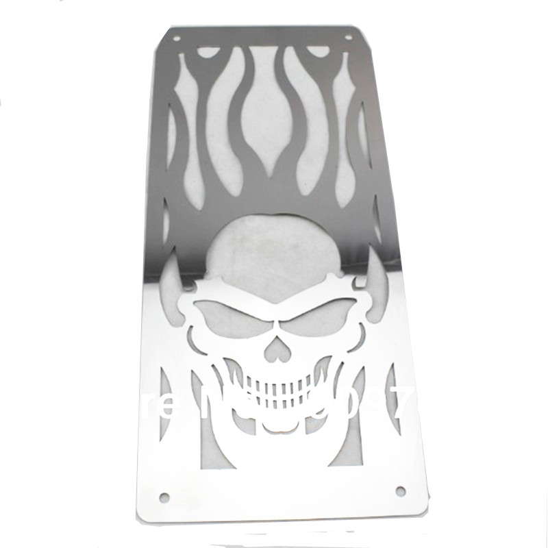 Chrome Skull Flame Radiator Grille Cover Stainless For Honda Shadow VT600 VLX All Years Motorcycle