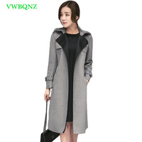 New Slim Suede Windbreaker Coat Women Korean Temperament Long Suede Trench Coats Spring Autumn Splice Plus size Overcoats A163