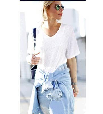 women's brand oversize high quality v neck basic white t shirt ...